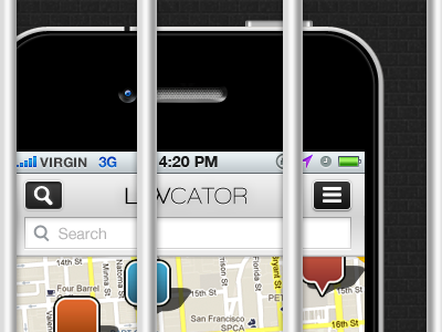 Lawcator - Android version (wip) android iphone application button lawcator search app pin bar brickwall map