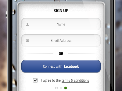 Sign up sign up iphone app application facebook interface terms conditions button field checkbox indicator elements ui mobile phone