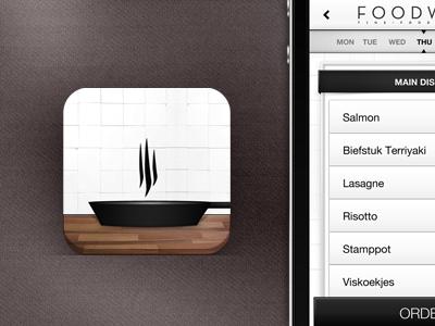 Food app icon & interface iphone app application ios icon interface menu ui ux pan food restaurant work mobile phone