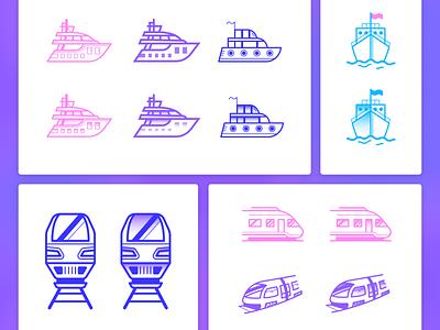 Transportation icons transportation train ship icons design outlined vector ui design icon illustrator graphic design