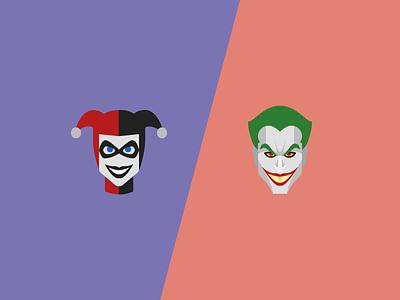Joker and Harley Quinn icons harley quinn flat design icons batman dc comics joker
