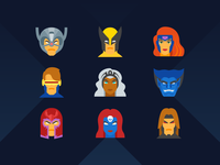 Flat icon set: X-men