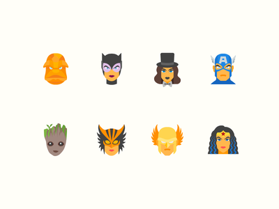 Flat Color Icons: Superheroes cat woman hawkman wonder woman groot dc marvel ui design outlined icons8 icon design superhero