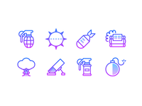 Free Line Gradient Icons: Explosives