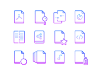 Free Line Gradient Icons: Files