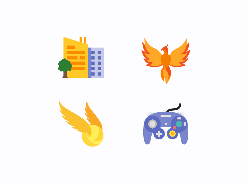 Color Flat Icons wings gaming city vector ui design flat color illustrator icons8 icon design icon graphic design