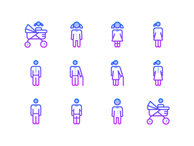 Free Line Gradient Icons: Aging