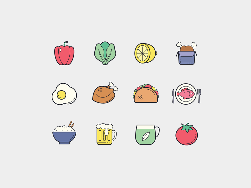 Color Hand Drawn: Food drinks food plasticine design icon design vector outlined illustrator graphic design icon ui design icons8