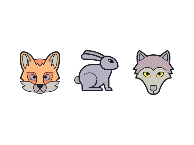 Plasticine Icons: Fox, Rabbit and Wolf animal wolf rabbit hare fox illustration design stroke icon design vector outlined illustrator graphic design icon ui design icons8