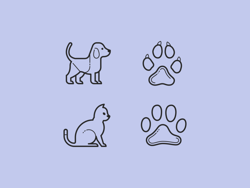Plasticine & Carbon Copy icons: Sweet Paws dog cat paw icons illustration design stroke icon design vector outlined illustrator graphic design icon ui design icons8