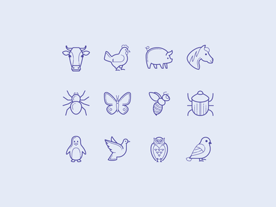 Hand Drawn Icons: Animals, Insects, Birds plasticine carbon copy zoo bird insect animal icons design stroke icon design vector outlined illustrator graphic design icon ui design icons8