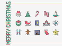 Hand Drawn Icons: Merry Christmas candy cane holy bibble candle church star santa christmas ball christmas new year stroke icon design vector illustrator graphic design icon ui design icons8