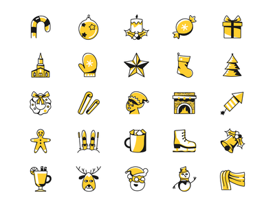 New Year and Christmas icons holidays vector new year christmas illustration graphic design icon icons8