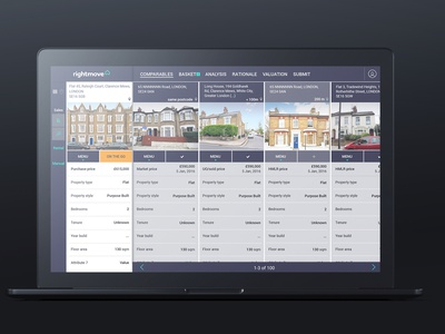 The Rightmove SCT interface sct rightmove interface table form web ux ui real estate gui clean app