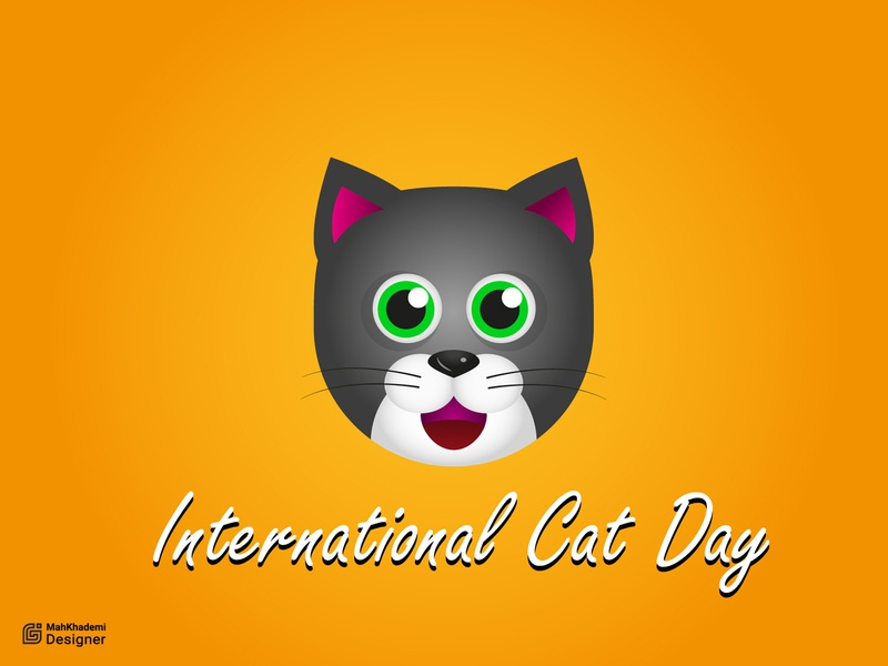 cat day character cartoon international cat day cat day cat vector illustrator illustration