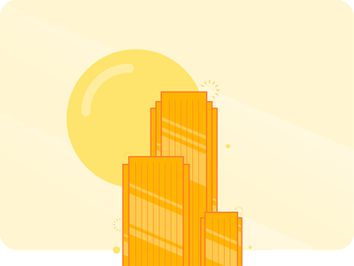Gold Skyscraper skyscraper place building illustration flat