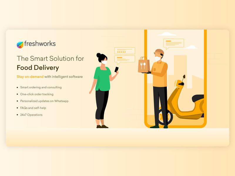 Vertical Series (4/6) - Food Delivery banner ad linkedin poster delivery food delivery food illustration colors illustrator flat design illustration
