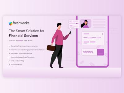 Vertical Series (5/6) - Fintech customer care fintech financial poster vector banner ad linkedin character colors illustrator design flat illustration