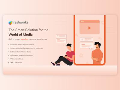 Vertical Series (6/6) - Media subscription customer service media poster banner ad linkedin character colors illustrator design flat illustration