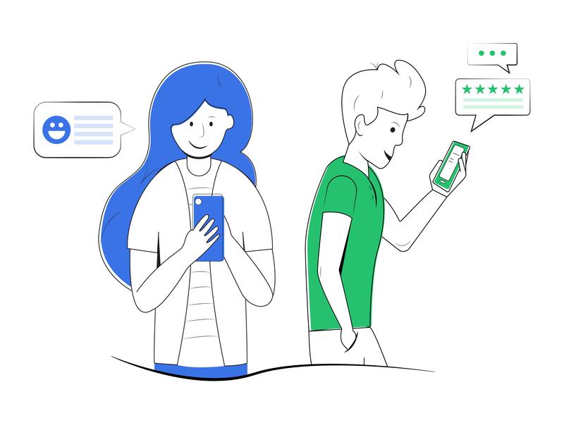 Customer review customer feedback feedback line art line illustration rating customer experience customer service vector geometric colors illustrator design flat illustration