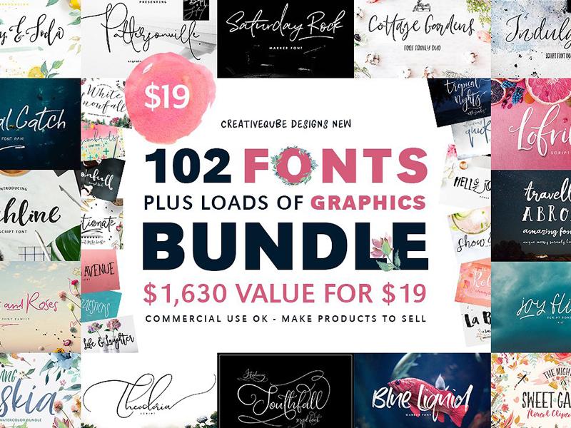 102 fonts graphics bundle sale by fonts collection dribbble