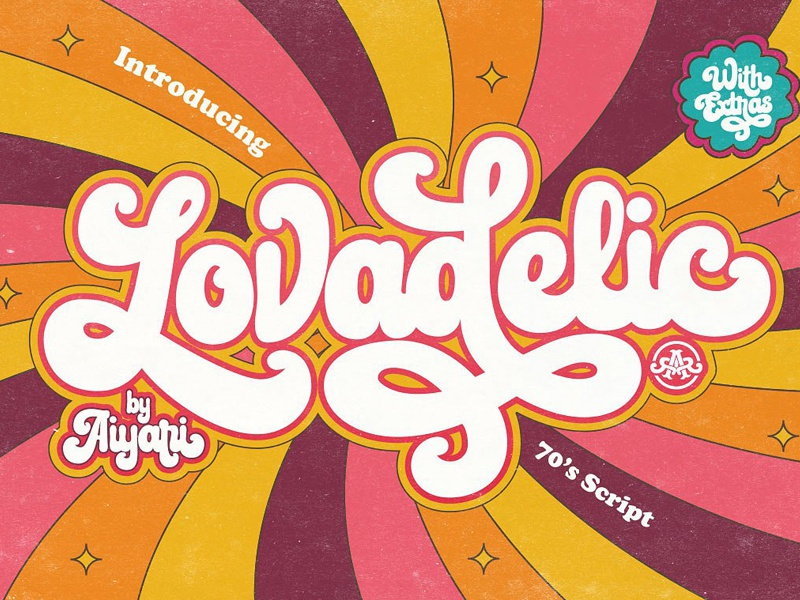 Lovadelic + Extras lettering font typography hand lettering vintage font retro font vintage retro script retro swash logo font lovadelic
