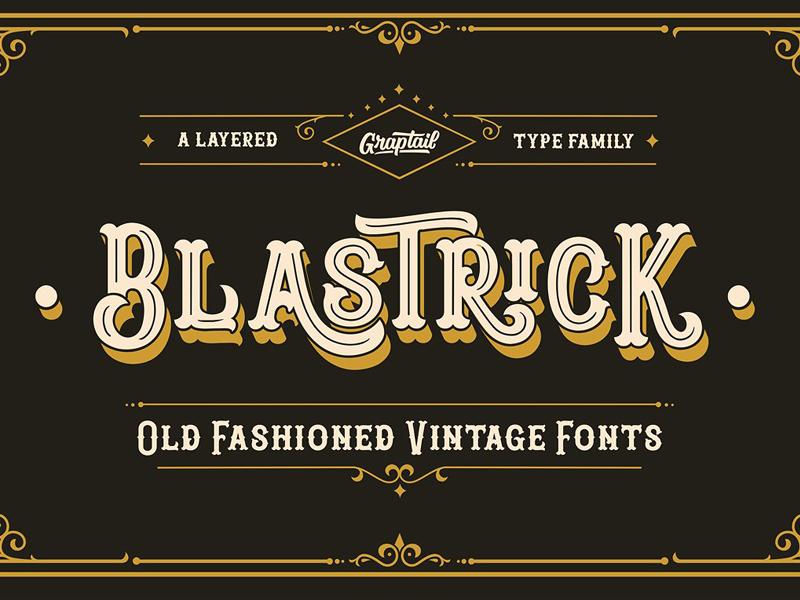 Blastrick layered font old style font typeface retro font vintage font logo decorative font retro vintage free font free download fonts collection