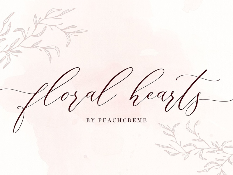 Floral Hearts-Luxury Script Font modern font wedding script font love font calligraphy font stylish