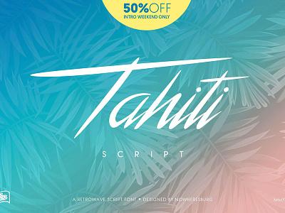 NWB Tahiti Script — 50% off calligraphy handwritten synthwave retrowave neon script font tahiti script font script 80s 1980s retro
