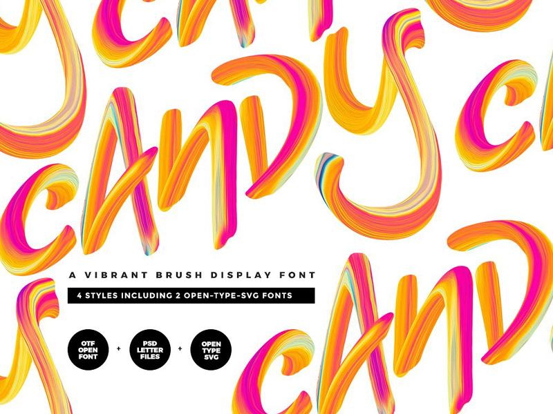 Candy Display Script + SVG blogger hand brushed calligraphy logo hipster trendy svg font candy display script candy color font color brush
