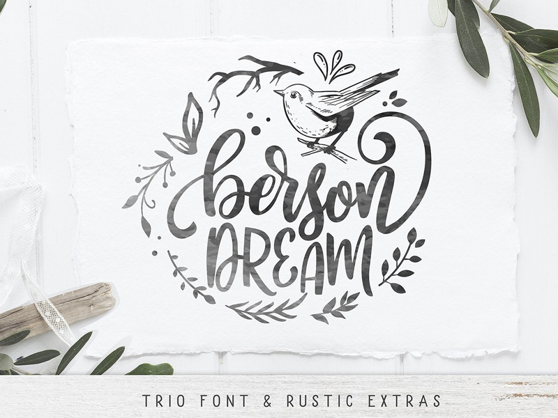 Berson Dream Font TRIO and extras by Fonts Collection on Dribbble