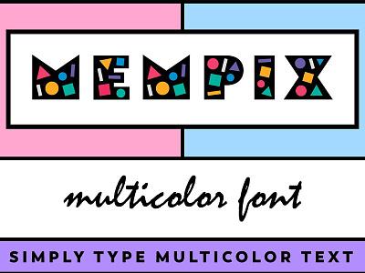 Mempix Multicolor Font - FREE Download fontself trendy modern pop art free download font mempix multicolor font multi-color multicolour colour color multicolor