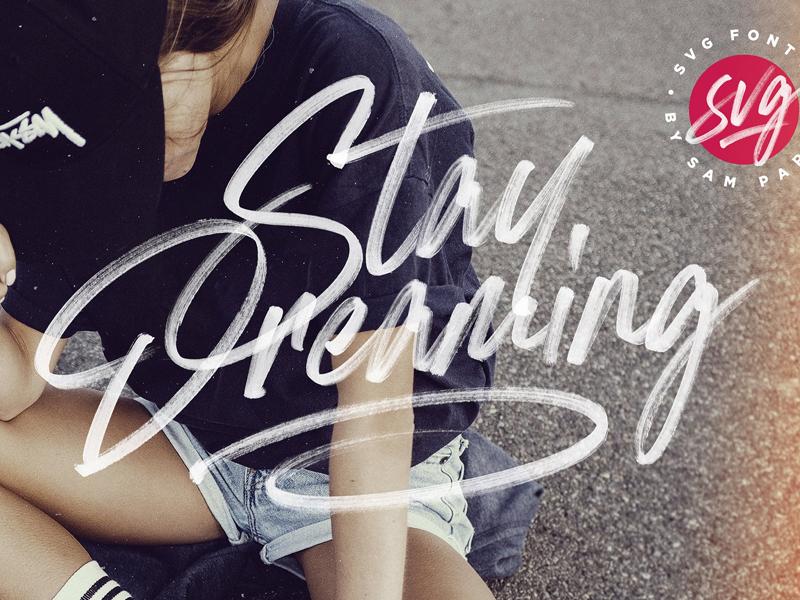 Stay Dreaming SVG Font color font style lettering typeface trendy fashion font svg font brush pen marker svg