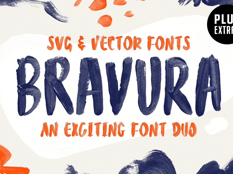 Bravura SVG Font Duo & Extras! textured textures color font brush font lettering painted handmade font font duo paint brush svg