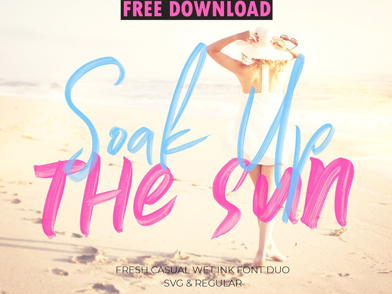 Soak Up The Sun Font Duo + SVG ( FREE DOWNLOAD ) by Fonts