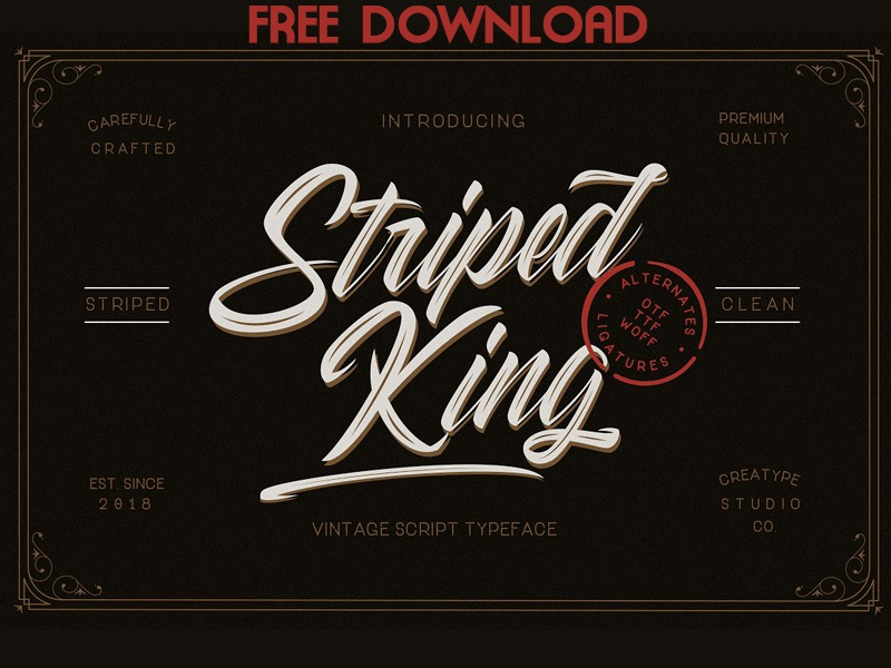 FREE DOWNLOAD - Striped King Vintage Script by Fonts