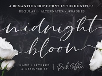 Midnight Bloom Script Font + Swashes