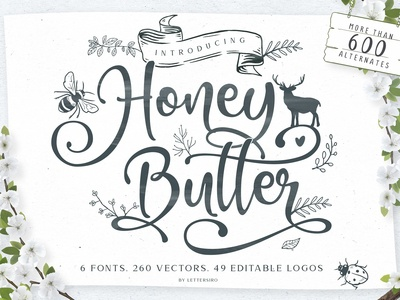 Honey Butter Font Trio & 260 Vectors