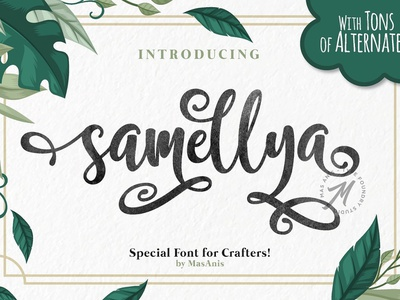 Samellya - Crafter's Font! fonts collection signature feminine modern calligraphy typeface lettering typography modern logo script calligraphy branding font elegant gold classy beauty wedding crafters font crafter
