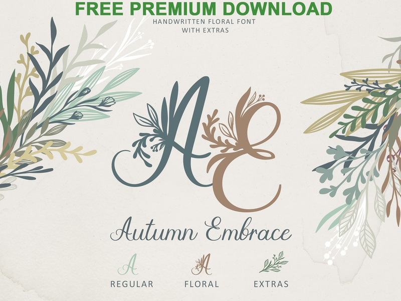 Free Premium Download - Autumn Embrace Floral Font + EXTRAS by Fonts