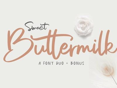 Sweet Buttermilk - Font Duo + Bonus
