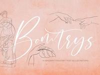 Bomtrys Script Font & Illustrations