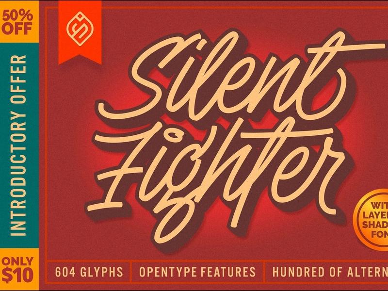 Silent Fighter - 3D Layered Font typeface typography modern logo branding font script font lettering handmade handwriting label wedding vintage layered font 3d layered font 3d font 3d retro calligraphy script
