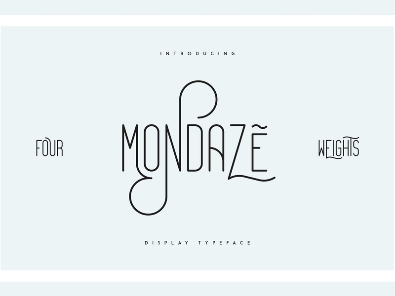 Mondaze Typeface - 4 Weights calligraphy fonts collection weight light bold elegant typeface lettering typography script modern logo branding font display typeface display weights rounded typeface rounded clean