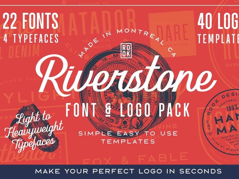 Riverstone Font & Logo Template Pack elegant lettering typography branding fonts modern clean logo geometric sans serif script simple typeface logo template retro vintage fonts collection font family logo font riverstone