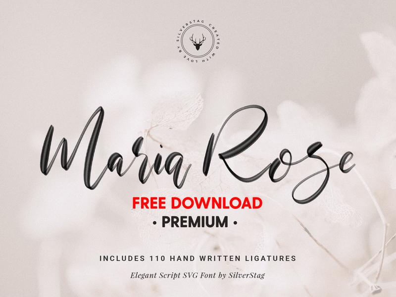 FREE Premium Download - Maria Rose Elegant Script SVG Font
