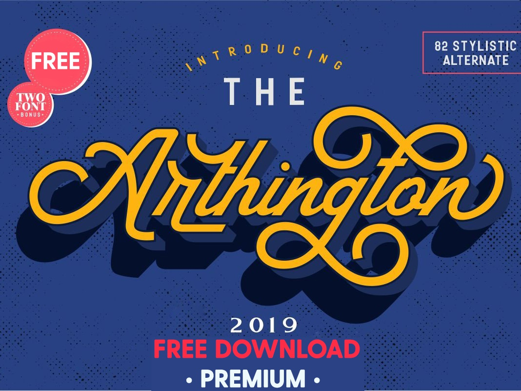 FREE Premium Download - The Arthington + Bonus 2 font. modern typography logo branding font freebies calligraphy fonts script fonts bold fonts trio font trio font display badges retro fonts vintage fonts retro free downloads freebie free download free