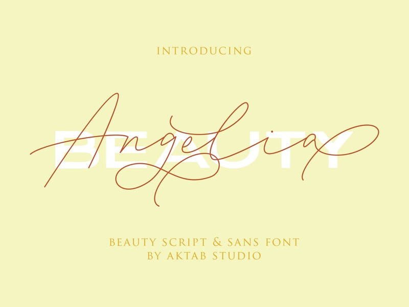 Angelia Font Duo fonts collection modern calligraphy calligraphy typography logo branding font typeface design stylish fonts trendy fonts elegant fonts signature fonts signature font sans font typeface script fonts script font script beauty font duo