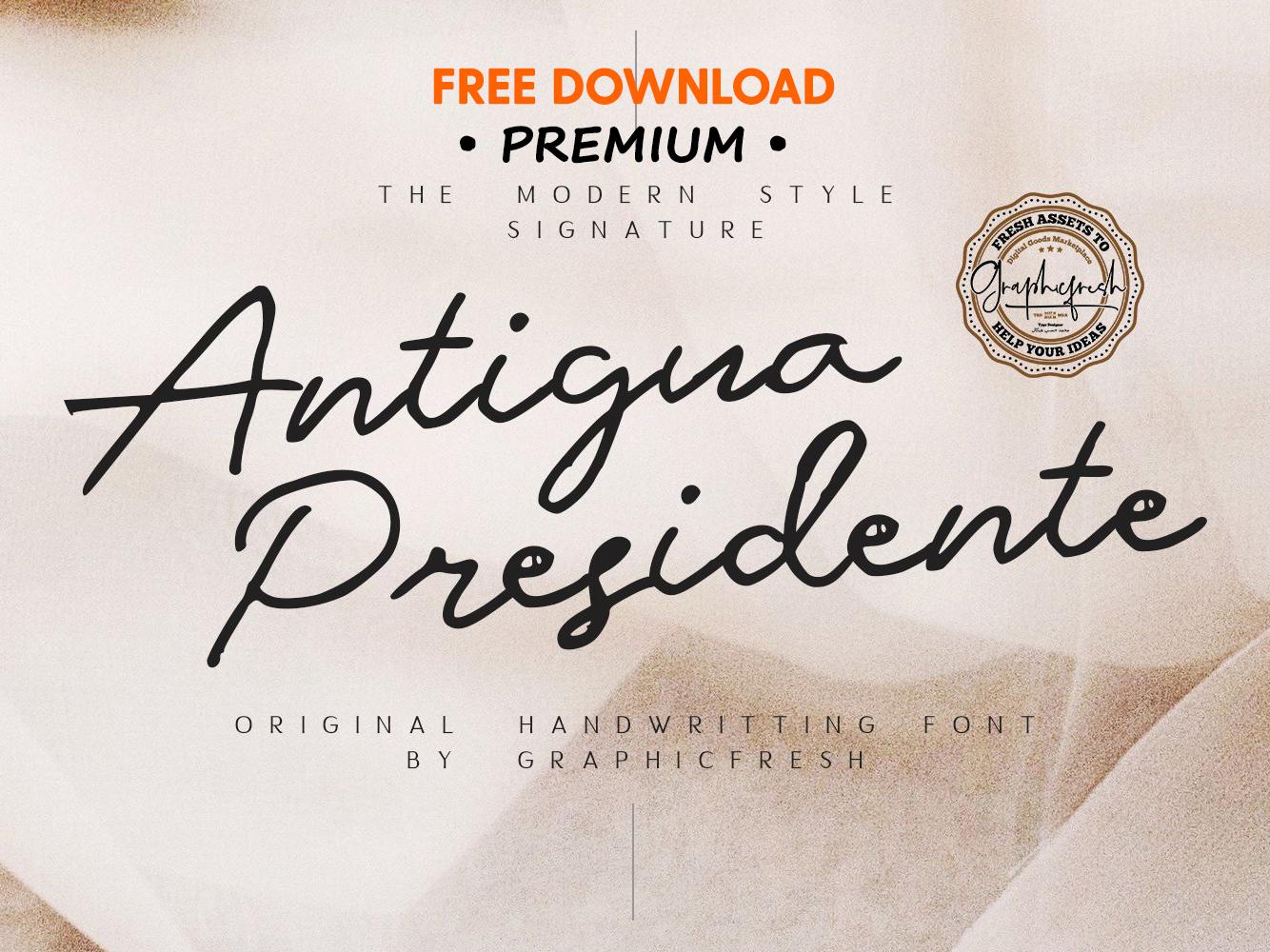 FREE Premium Download - Antigua Presidente - Script Font by