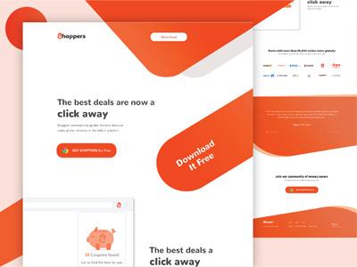 Shoppers I Chrome Extension template banner orange color landing page uiux design